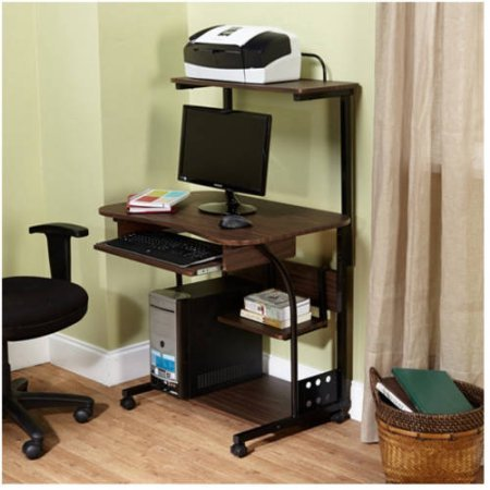 Mobile Computer Tower with Shelf, Multiple Finishes (Espresso)