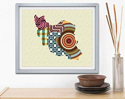 Iran Wall Art Map Decor Poster Geometric Art Unframed Art Com Persian Print