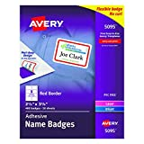 "Avery White Adhesive Name Badges with Red Border, 2-1/3"" x 3-3/8"", Box of 400 (5095)"