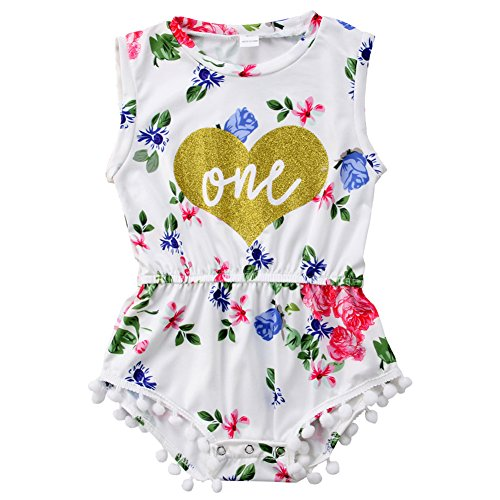 ONE'S New Baby Girls Summer Floral First Birthday Bodysuit Romper Outfits (12-18 Months, White 2) -