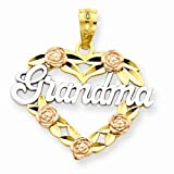Solid 14k Yellow & White Two Tone Gold Grandma Love Heart Pendant (22mm x 20mm)