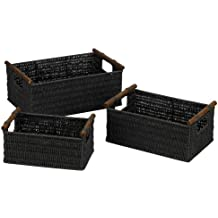 Household Essentials ML-7052 Paper Rope Wicker Storage Baskets with Wood Handles  Set of 3   Black Stain