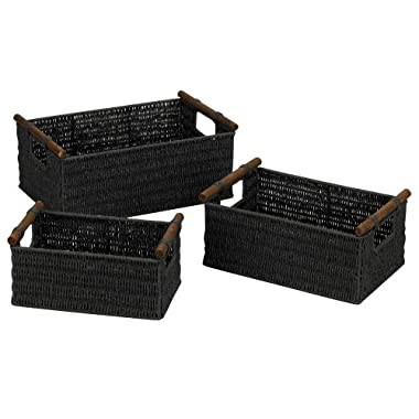 Household Essentials Hand-Woven Paper Rope Baskets with Wood Handles, Black Stain, Set of 3
