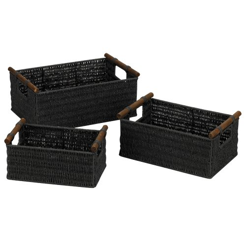 Household Essentials ML-7052 Paper Rope Wicker Storage Baskets with Wood Handles |Set of 3 | Black Stain (Wicker Cube)