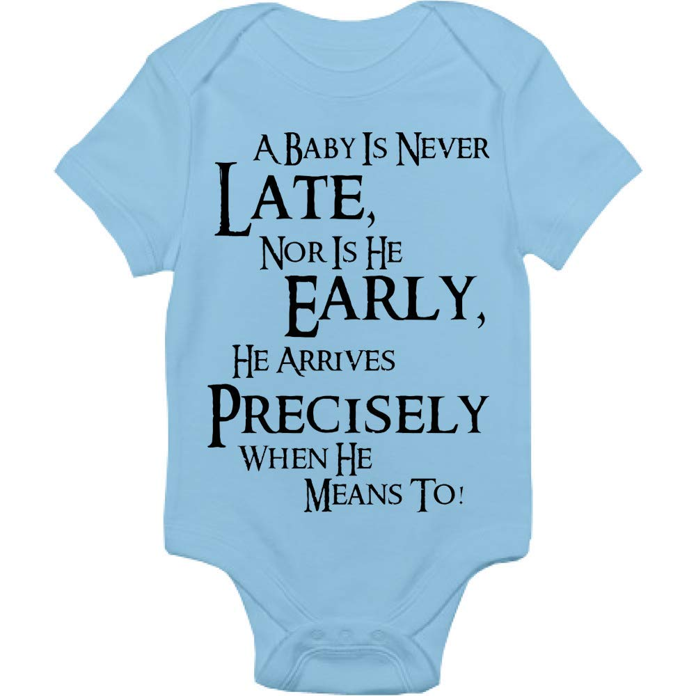 Lord Of The Rings Bodysuit - A Baby Is Never Late Nor Is He Early He Arrives Precisely When He Means To - Handmade Baby Cloths For Boys And Girls - Baby Shower Gift Idea