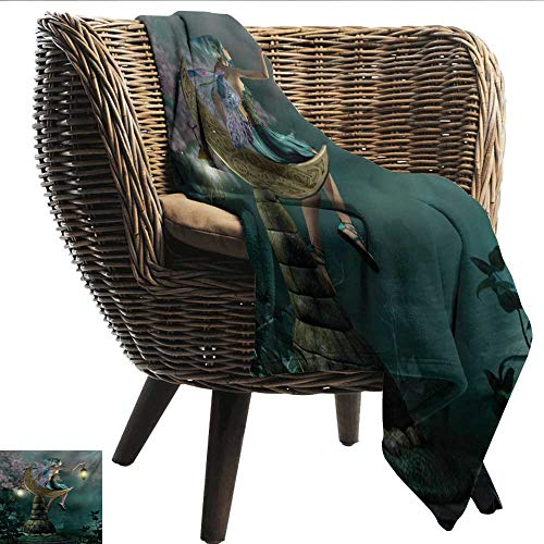 Davishouse Fantasy Home Throw Blanket Little Pixie with Lantern Sitting on Moon Stone Fairytale Myth Kitsch Artwork All Season for Couch or Bed 60