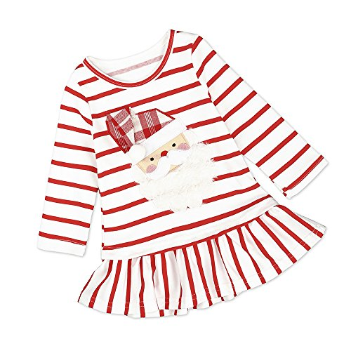 Christmas Santa Red Striped Baby Toddler Girl Holiday Shirt Dress - No Santa Toddler Shirt