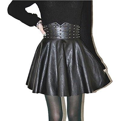 sansoisan Women's Basic Solid Versatile Leather A-line Flared Casual Mini Skater Skirt
