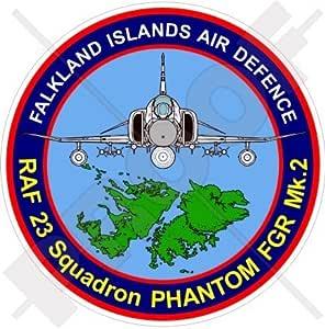 Pegatina de 90 mm con diseño de la defensa aérea de las Islas Malvinas y un avión F4 Phantom FGR Mk 2 RAF 23: Amazon.es: Jardín