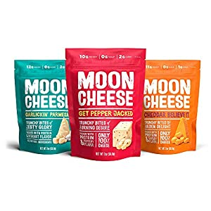 Moon Cheese 2 oz Variety Packs (Cheddar, Garlic Parmesan, Pepper Jack, 3 Count)
