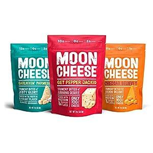 Moon Cheese 2 oz Variety Packs (Cheddar, Garlic Parmesan, Pepper Jack, 3 Count)