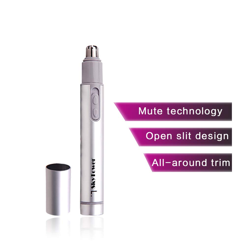 Professional Electric Nose Nostril Nasal Hair Trimmer for Men Women, with Vacuum Cleaning System, Quality Stainless Steel, IPX7 Waterproof, Mute Motor, Wet Dry, Battery-Operated
