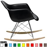 2xhome - Black - Eames Style Molded Modern Plastic Armchair – Contemporary Accent Retro Rocker Chrome Steel Eiffel Base - Ash Wood Rockers - Rocking Style Lounge Cradle Arm Chair