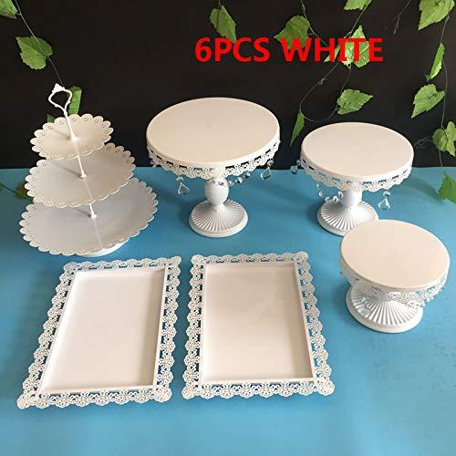 6PCS / Set gold mirror surface Wedding Dessert Tray Cake Stand Cupcake Pan cake display table decoration Party Supply (white)