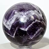 51mm Deep Purple Chevron Amethyst Sphere Natural Quartz Crystal Sparkling Mineral Polished Gemstone Ball - Africa + Plastic Stand