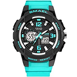 SMAEL Women's Sport Wrist Watch Quartz Dual Movement with Analog-Digital Display Watches for Women (Turquoise)