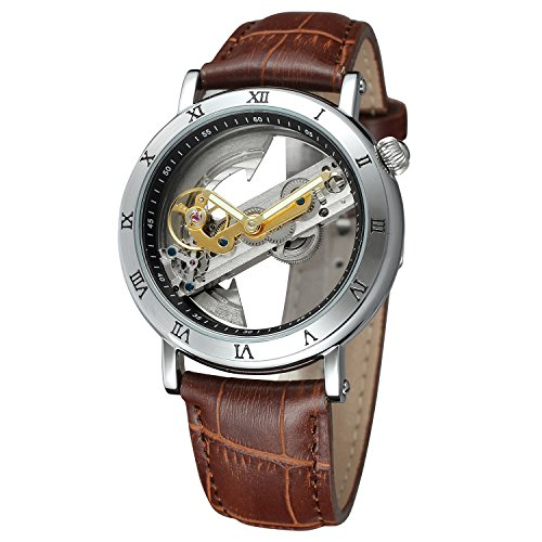 FORSINING Mens Unique Design Luxury Automatic Movt Popular Style Genuine Leather Strap Skeleton Watch