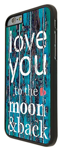 556 - Cool Funky I Love You To The Moon and Back Design iphone 6 6S 4.7'' Coque Fashion Trend Case Coque Protection Cover plastique et métal - Noir