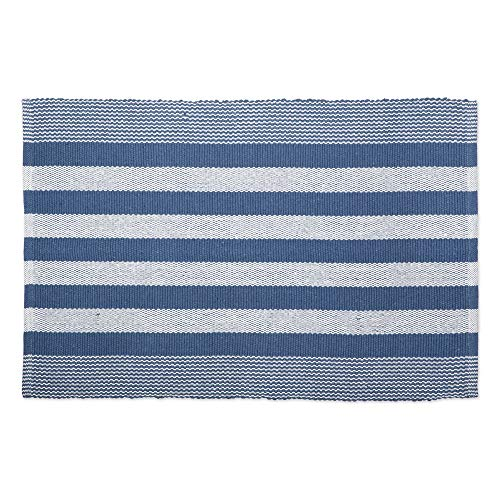 DII CAMZ11081 Contemporary Reversible Machine Washable Recycled Yarn Area Rug for Bedroom, Living Room, and Kitchen, 2 x 3', Cabana Stripe French Blue