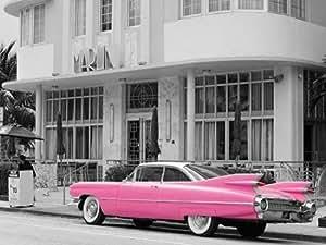 feelingathome. it, impresión sobre lienzo 100% algodón sin Pink Cadillac cm 92x 123(dimensiones personalizables a opcional)