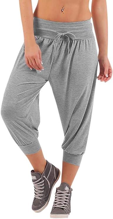Storerine Pantalones de Mujer Hilo Fijo y Ancho Ancho Ancho Ancho y Pantalones Deportivos para Mujer, de algodón, con pies Luokou, monocromos Gris XXXL: Amazon.es: Ropa y accesorios
