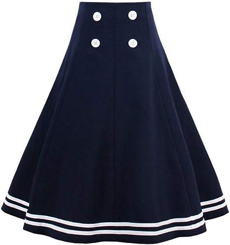 DAHDXD Moda Mujer Vintage Estilo Marinero Falda de Verano Azul ...