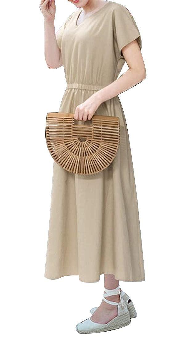 Jofemuho Womens Defined Waist Summer V-Neck Solid Short Sleeve Crew Neck Cocktail Party Midi Dress