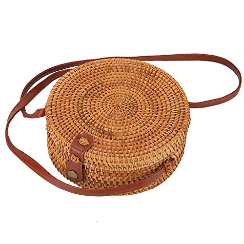 (Round Rattan Boho Purse Handwoven Straw Bag Bamboo Handbag Wicker Beach Bag(floral lining snap clasp) )