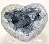 3.5'' 1.3lb Celestite Geode Heart Sparkling Natural Ice Sky Blue Druzy Crystal Cluster Mineral Celestine Stone - Madagascar + Acrylic Display Stand