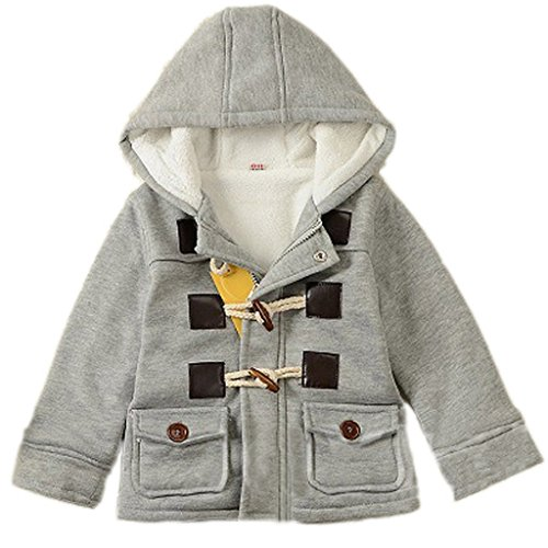 - GetUBack Baby Boy's Hooded Fleece Coat Winter Outwear 18M Grey