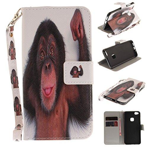 Para Huawei P10 Lite funda, (lobo) caja del teléfono de la PU patrón en pintado ,Función de Soporte Billetera con Tapa para Tarjetas correa de mano soporte para teléfono mono