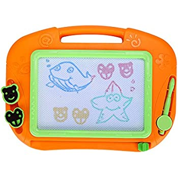 Magnetic Drawing Board, Erasable Colorful Magna Doole Drawing Board for Kid Writing Sketch Pad 12 inch Travel Size - Excellent Educational Gift Toys
