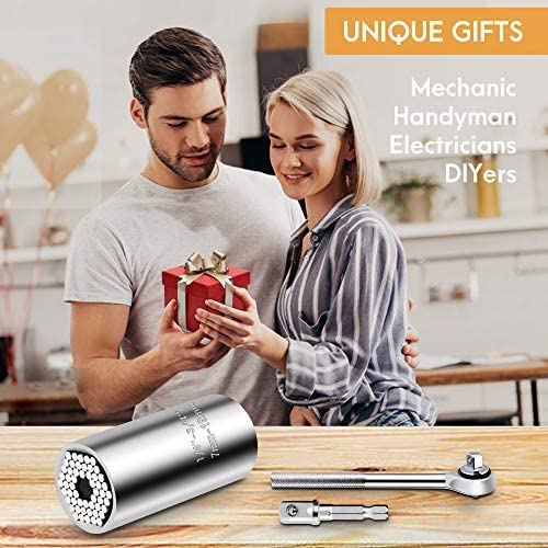 Universal Socket Tool Set, (7-19mm) Ratchet Socket Wrench With Power Drill Adapter Unique Gadgets Multi-Function Handy DIY Tools Stocking Stuffer Gifts for Men/Husband/Father/Boyfriend/Women