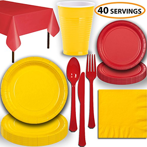- Disposable Party Supplies, Serves 40 - Yellow and Red - Large and Small Paper Plates, 12 oz Plastic Cups, Heavyweight Cutlery, Napkins, and Tablecloths. Full Two-Tone Tableware Set