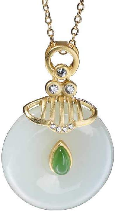 ZHANGZHE Colgante De Hebilla De La Suerte con Incrustaciones De Plata 925 El Colgante De Jade De Hetian Trae Buena Suerte Jade