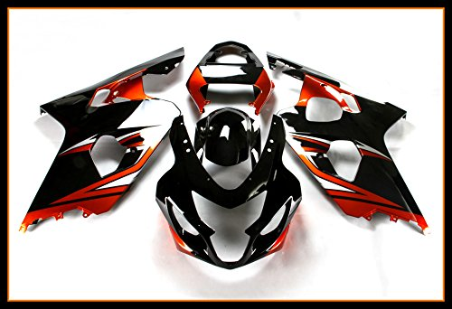 Oem Suzuki Fairings - Protek ABS Plastic Injection Mold Full Fairings Set Bodywork With Heat Shield Windscreen for 2004 2005 Suzuki GSXR600 GSXR750 GSXR 600 750 Red Black