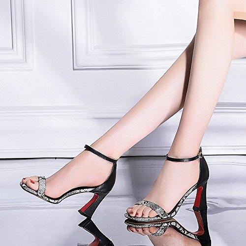 NHGY Sandalias de cuero, hebillas, serpientes, rough, cuadrado, sexy, sencilla, high heeled zapatos de mujer,Black,Treinta y siete trentaquattro