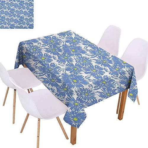 Marilec Washable Table Cloth Floral Corsage Daisy Jasmine Petals Fragrance Botanical Beauty Pastel Nature Design Table Decoration W70 xL84 Violet Blue Yellow ()