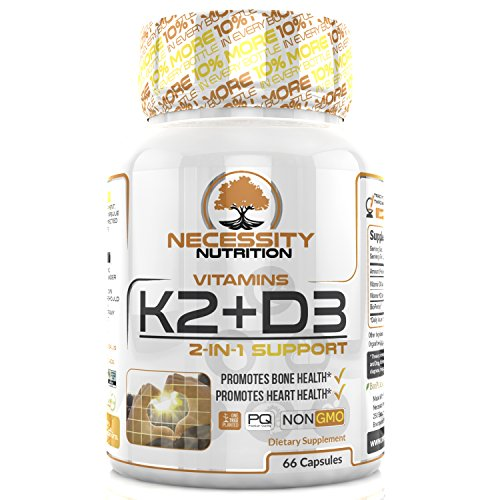 K2 (MK7) D3 Vitamin Supplement 5000 IU Capsules Natural Calcium Absorption Non Gmo Easy Swallow Complex Vegetarian Formula Supports Strong Bone Health and Healthy Heart Plus Cholecalciferol (Vitamin D3 Mk7)