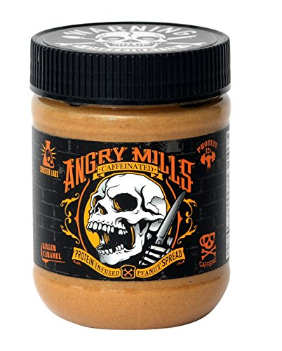 (Angry Mills Whey Protein Isolate-Infused Peanut Spread by Sinister Labs - Caffeinated - (12 oz jar) (Killer Caramel, 1-Pack))
