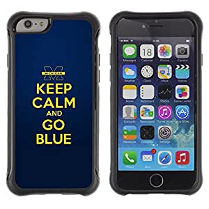 WAWU Funda Carcasa Bumper con Absorci??e Impactos y Anti-Ara??s Espalda Slim Rugged Armor -- blue gold yellow keep calm quote motivational -- Apple Iphone 6 PLUS 5.5