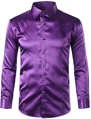 ZEROYAA Mens Regular Fit Long Sleeve Shiny Satin Silk Like Dance Prom Dress Shirt Tops Z6 Purple Large