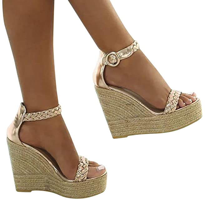 Amazon.com: Sharemen Womens Platform Espadrille Wedges Peep Toe High Heel Sandals with Ankle Strap Buckle Up: Clothing