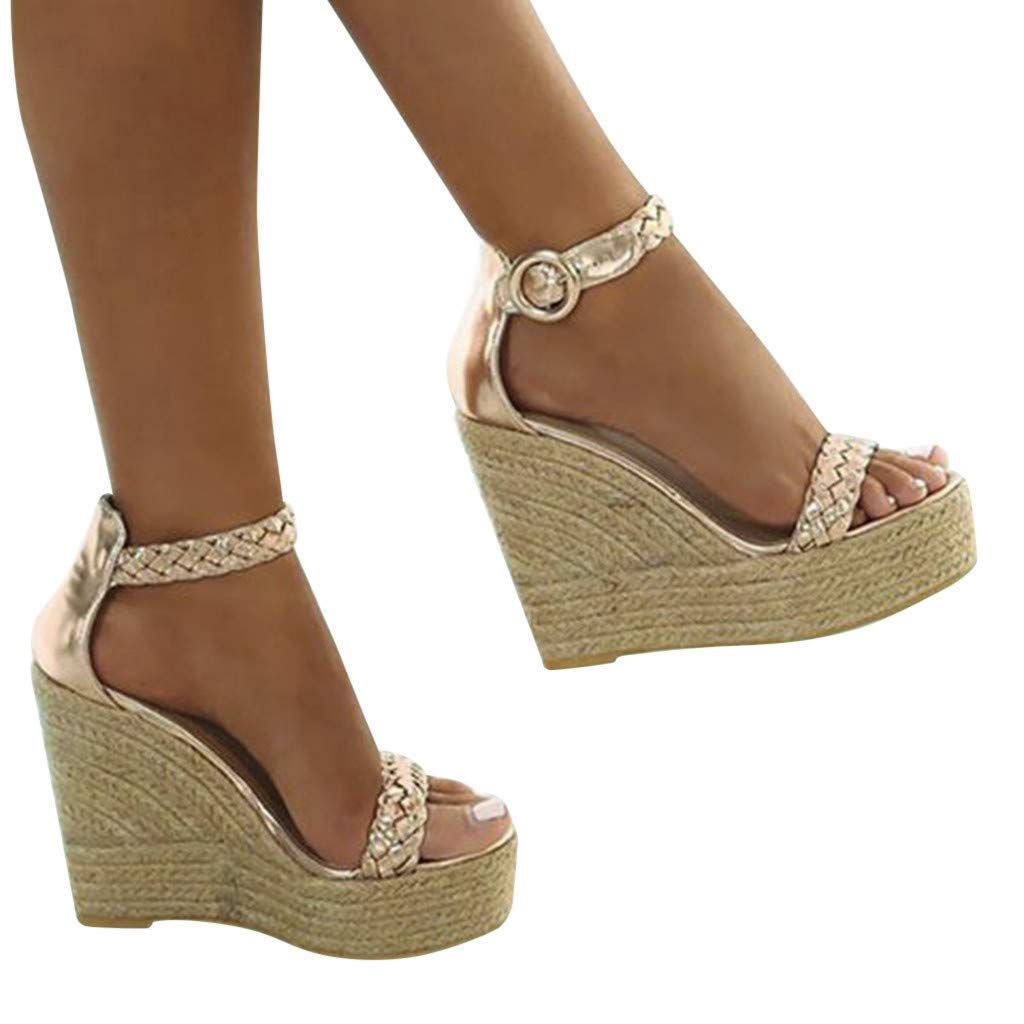Summer Sandals, ❤️ FAPIZI Women Casual Open Toe Platform High Heels Solid Wedge Buckle Strap Sandals for Gifts Women Gold by FAPIZI Women Shoes (Image #1)