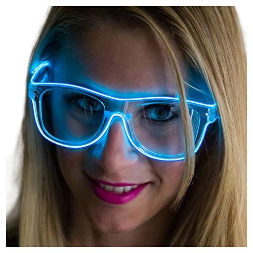 Neon Nightlife Blue Frame/Clear Lens Wayfarer 55mm Light Up Glasses