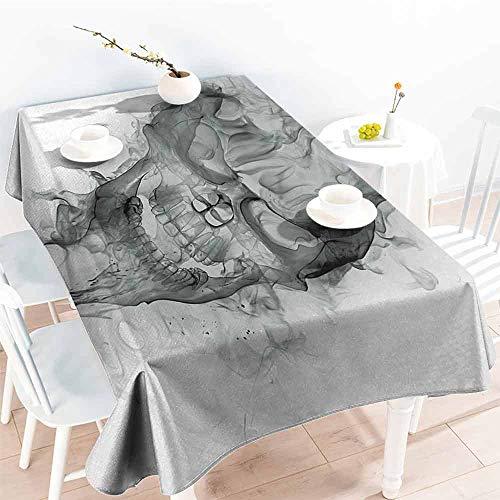 (Elegance Engineered Tablecloth Skull Contemporary Illustration of Smokey Grungy Dark Horror Style Devil Evil Print Art Washable Tablecloth W40 xL60 Grey White )