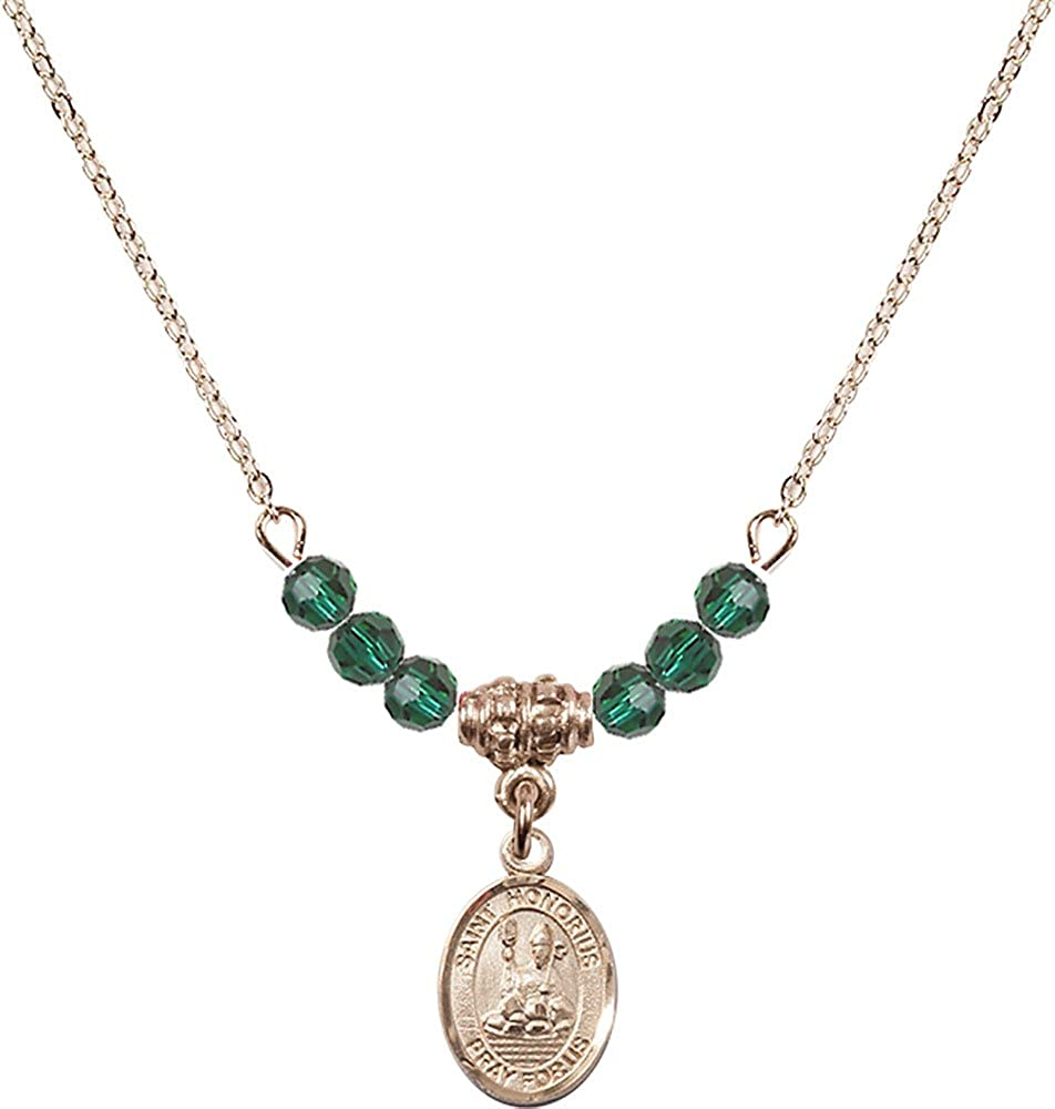 18-Inch Hamilton Gold Plated Necklace with 4mm Emerald Birthstone Beads and Gold Filled Saint Honorius of Amiens Charm.