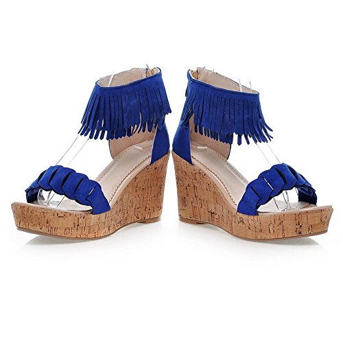 VogueZone009 Womens Open Toe High Heel Wedge Platform PU Frosted Solid Sandals with Tassels and Zipper Darkblue