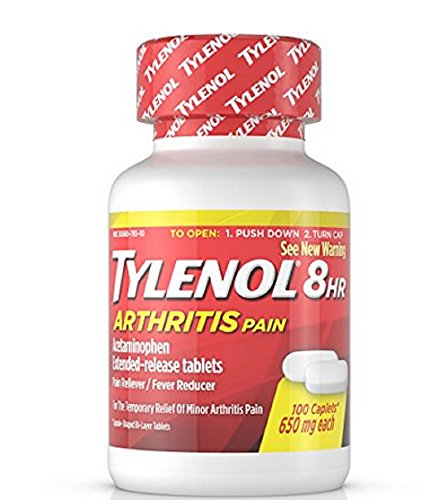 Caplets Relief Extended (Tylenol Arthritis Pain Caplets (E-Z Open Cap), 650 mg, 100 Count Bottles (Pack of 2))