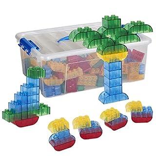 ECR4Kids Transpara-Bricks Math Manipulative Set, Educational Sensory Learning Toys for Kids (128-Piece Kit)